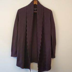 Banana Republic eggplant purple knit open cardigan